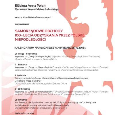 Samorządowe obchody 100-lecia odzyskania przez Polskę niepodległości - kalendarium najważniejszych wydarzeń w 2018 r.