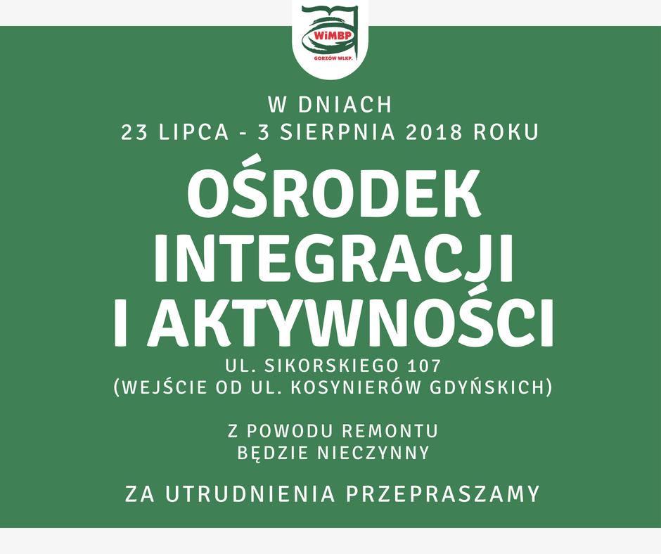 Komunikat Wojewódzkiej i Miejskiej Biblioteki Publicznej im. Zbigniewa Herberta w Gorzowie Wielkopolskim