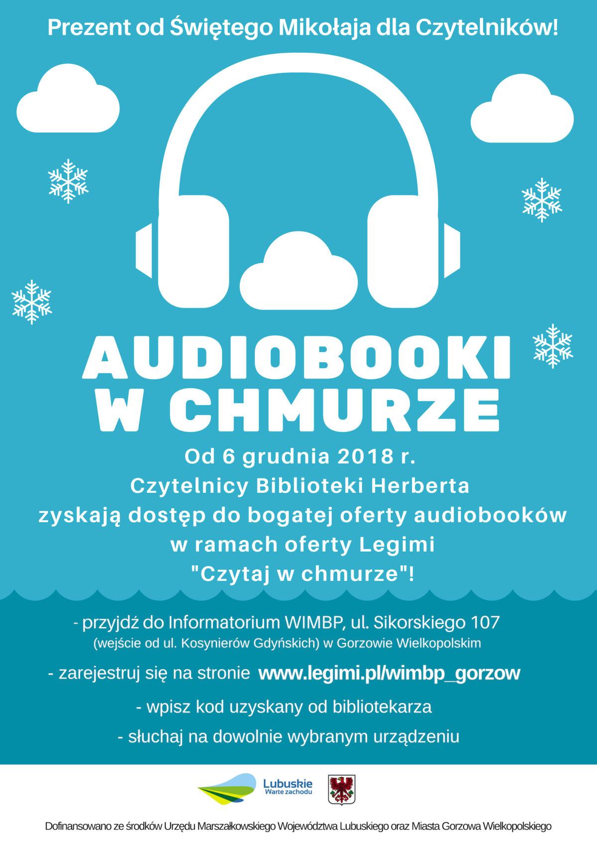 Od 6 grudnia zapraszamy naszych Czytelników do bezpłatnego korzystania z bogatej oferty audiobooków w ramach współpracy Biblioteki Herberta z Legimi.