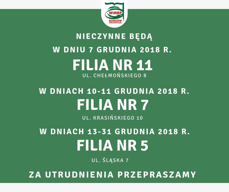7 grudnia 2018 r. Filia nr 11 będzie nieczynna. W dniach 10-11 grudnia 2018 r. nieczynna będzie Filia nr 7. W dniach 13-31 grudnia 2018 r. nieczynna będzie Filia nr 5. Za utrudnienia przepraszamy!