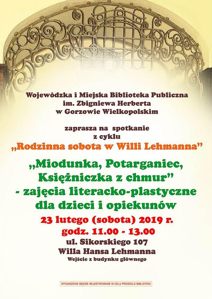 """23 lutego 2019 r. o godz. 11.00 zapraszamy na kolejne spotkanie z cyklu """"Rodzinna sobota w Willi Lehmanna"""". Wstęp wolny!"""