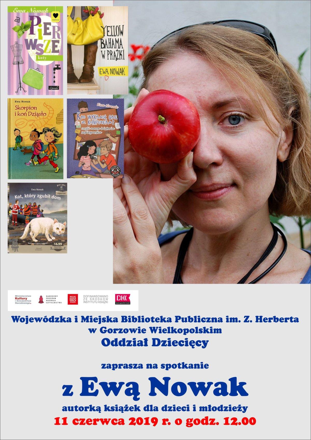 11 czerwca 2019 r. o godzinie 12:00 Oddział Dziecięcy WIMBP zaprasza na spotkanie autorskie z Ewą Nowak.