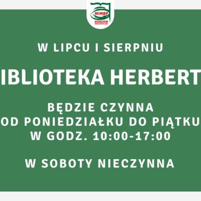 Zmiana godzin otwarcia Biblioteki Herberta w lipcu i sierpniu