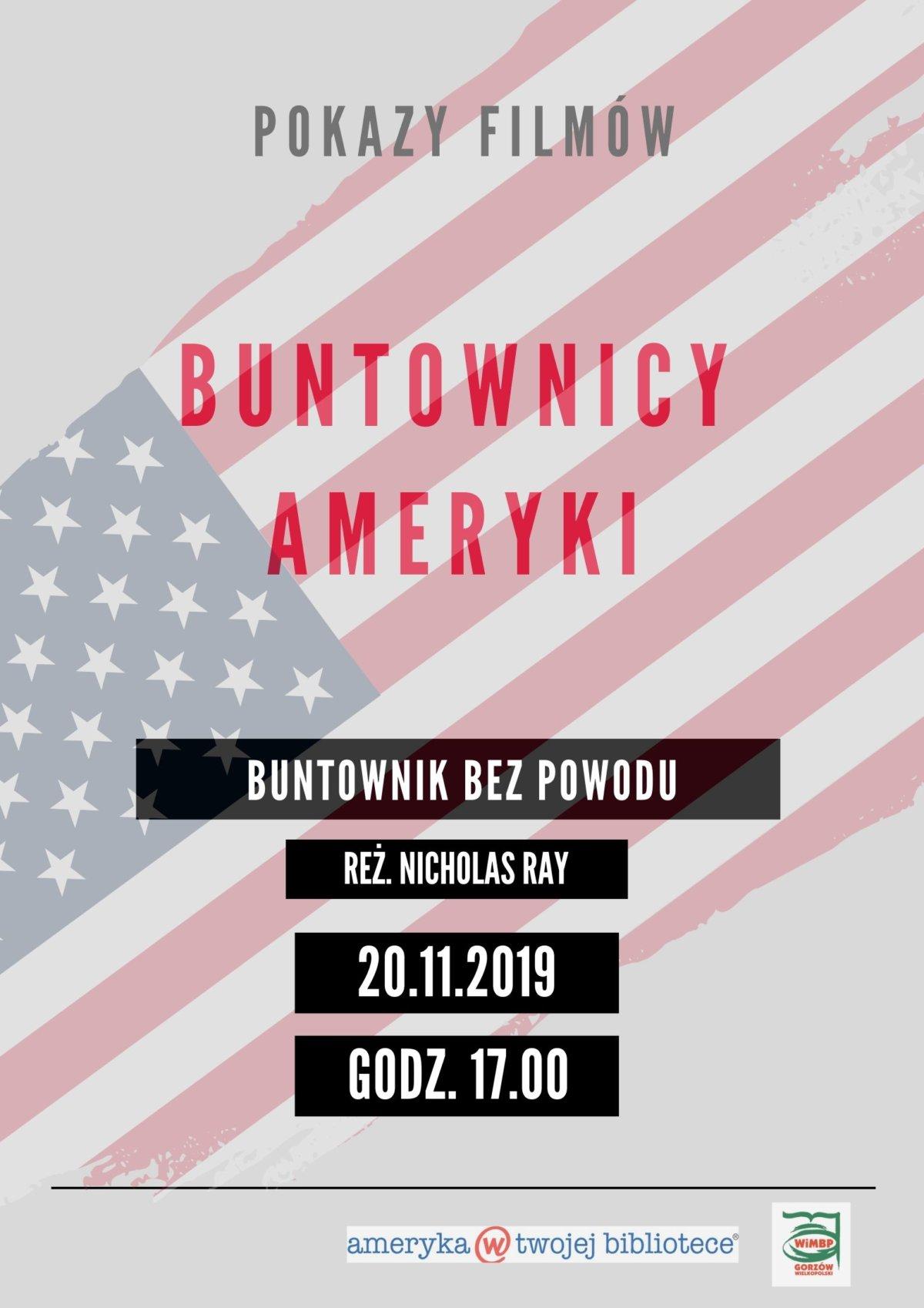 """20.11.2019 r. pokaz filmu """"Buntownik bez powodu"""""""