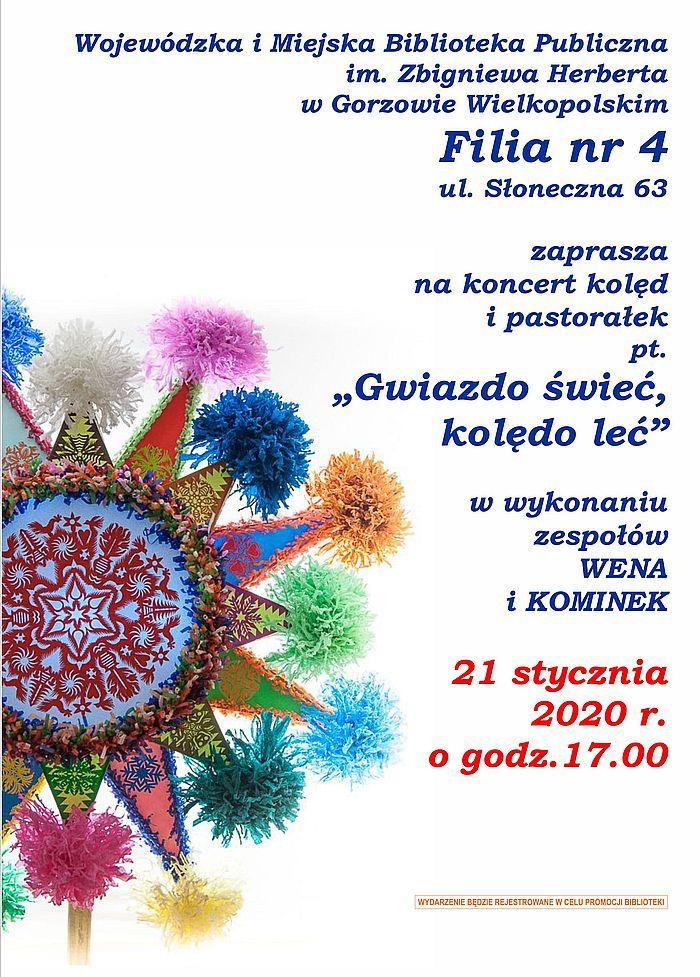 21 stycznia 2020 roku o godzinie 17.00 Zapraszamy na koncert kolęd i pastorałek w wykonaniu zespołów WENA I KOMINEK