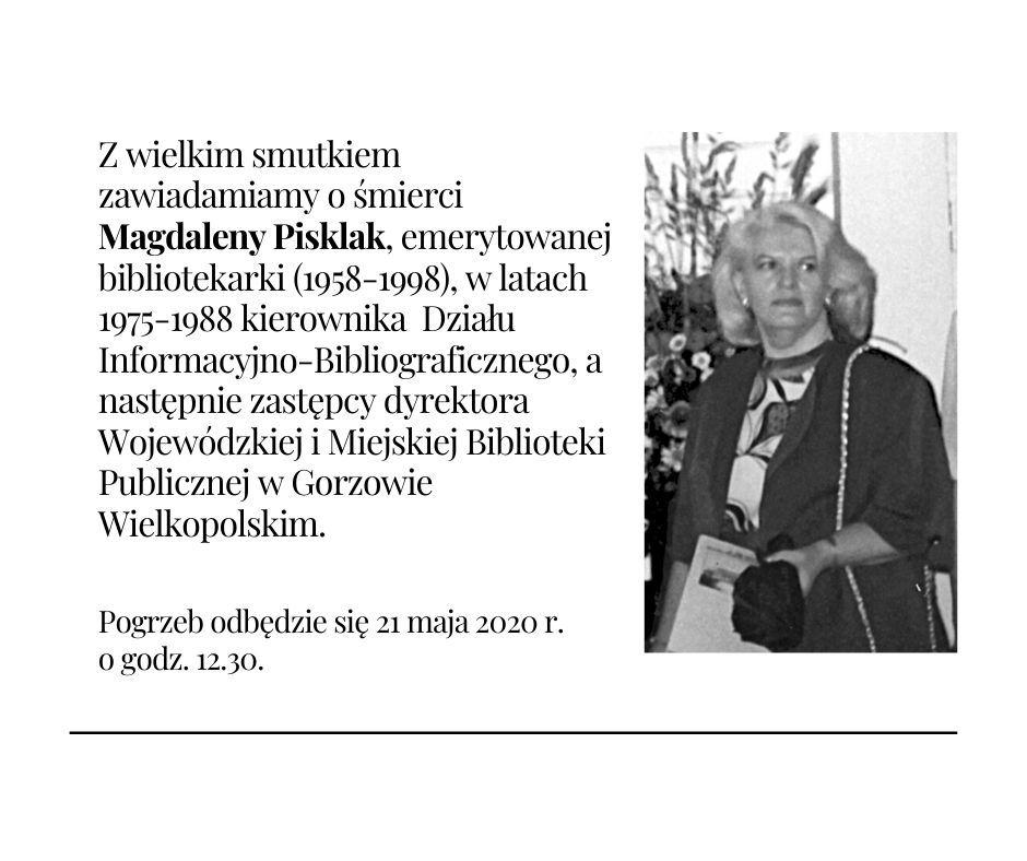 Odeszła Magdalena Pisklak